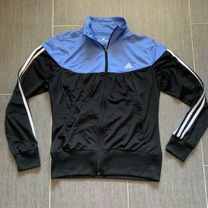 Adidas track jacket coat blue black large zip up